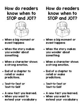 Stop & Jot Bookmark