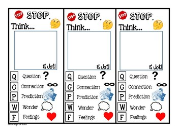 Stop, Jot, & Think! Book Marks