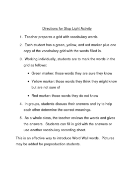 Stop Light Activity: Introducing Vocabulary Words