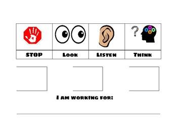 Stop, Look, Listen, Think Token Board