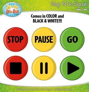FREE Stop 'N Go Signals Symbol Graphics Clipart {Zip-A-Dee-Doo-Dah Designs}