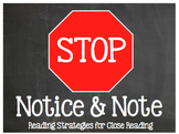 Stop, Note, & Notice: Reading Strategies for Close Reading Chalkboard! Bookmarks