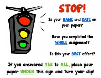 Stop Sign for Turning in Papers