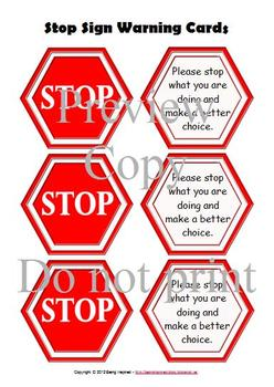 Stop Sign warning cards for encouraging self regulation