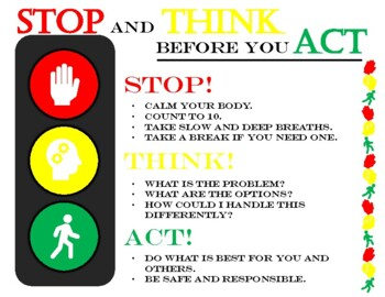Stop Think Act Poster By Souly Natural Creations Tpt