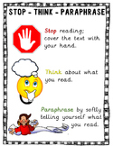 Stop - Think - Paraphrase Comprehension Strategy Poster and Bookmarks Set