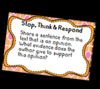 Stop, Think and Respond - Comprehension Cards for Informational Text