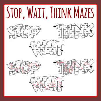 Stop Wait Think Behavior Management Maze Clip Art Commercial Use