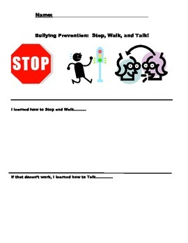Bullying Prevention Lesson Plan & Stop, Walk, and Talk Guide