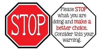 Stop Warning Sign-Classroom Management by Cuter in Color | TpT