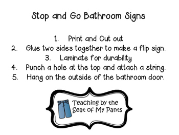 Stop and Go Classroom Bathroom Signs