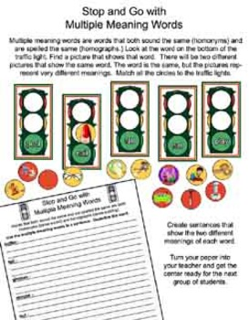 Literacy Center - Stop and Go With Multiple Meaning Words - Homonyms/Homographs