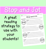 """Stop and Jot"" Reading Strategy Worksheet"
