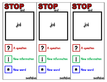 Stop and Jot Bookmark for Non-Fiction