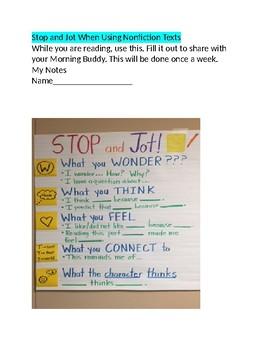 Stop and Jot Nonfiction Activity