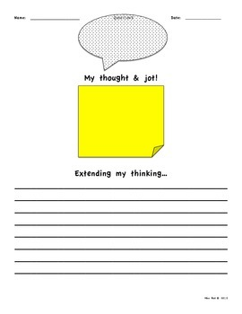 Stop and Jot Post It Extend Your Thought and Writing Activities