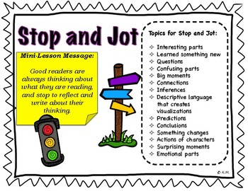 Stop and Jot {Reader's Workshop Mini-Lesson}