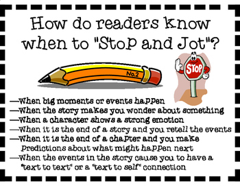 Stop and Jot Reading Comprehension Strategy