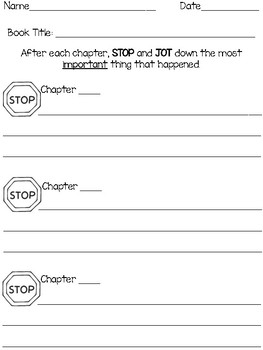 Stop and Jot: Reading Strategy