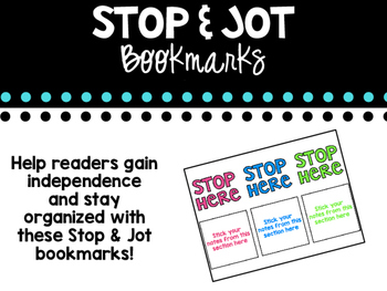 Stop and Jot Sticky Note Bookmark