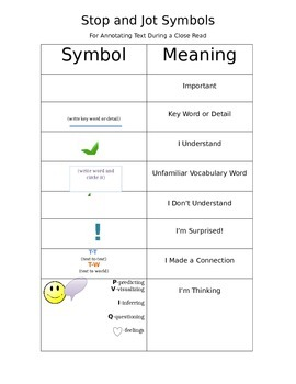 Stop and Jot Symbols