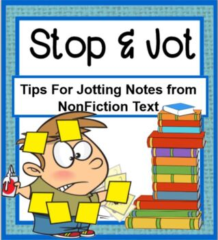 Stop and Jot SMARTBOARD PLUS PRINTABLE card set- Tips for Jotting Notes
