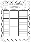 Stop and Smell the Spelling Activity Game Black and White