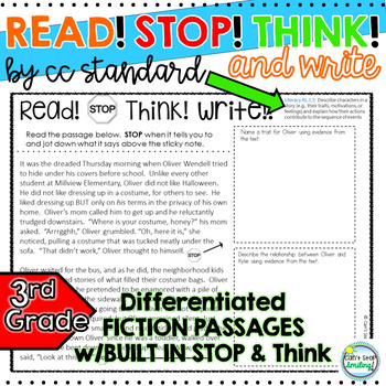 Stop and Think Reading Passages 3rd Grade Organized by CC Standard Reading Lit