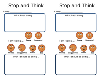 Stop and Think Reflection Page