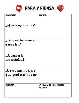 Stop and Think Sheet - BILINGUAL/SPANISH