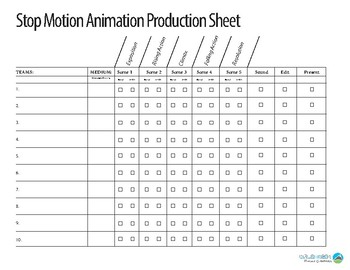 Stop-motion Animation Production Sheet