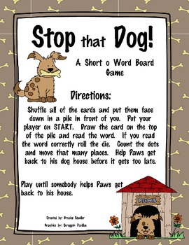 Stop that Dog! - A Short o Word Board Game