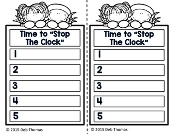 """Stop the Clock"" Recording Sheet"