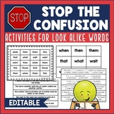 Stop the Confusion RTI Activities for Look-Alike Words Vis