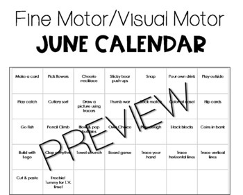 Stop the Summer Slide Fine Motor/Visual Motor Practice Calendars