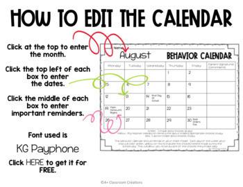 Stoplight Behavior Calendars