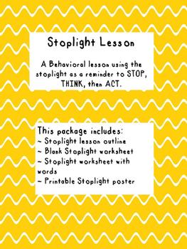 Stoplight Behavior Lesson { STOP, THINK, ACT }