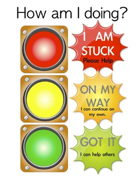 Stoplight Student Assessment Cards/Posters Classroom 11 x 17 Included