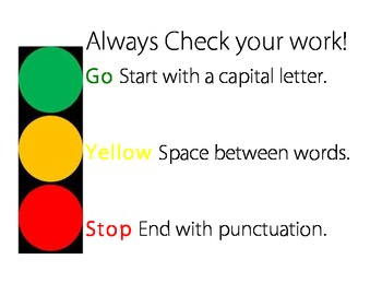 Stoplight Writing Poster
