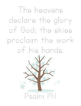 Stopping By Woods on a Snowy Evening Bible Verse Printable (Psalm 19.1)