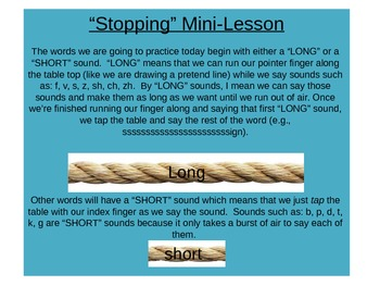 """Stopping"" Mini Lesson for Speech"
