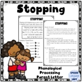 Stopping   Parent or Teacher Letter for Phonological Processing
