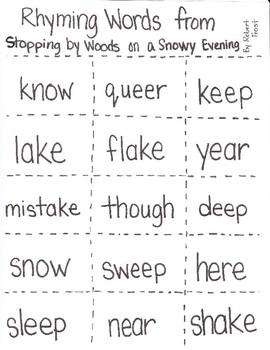 Stopping by Woods Rhyming Activity