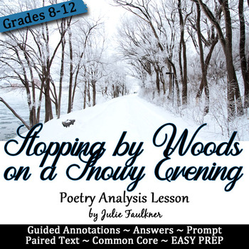 Stopping by Woods Lesson, Paired Text Classic Lit with Modern Connections