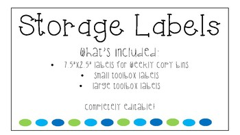 Storage Bin Labels Green And Blue