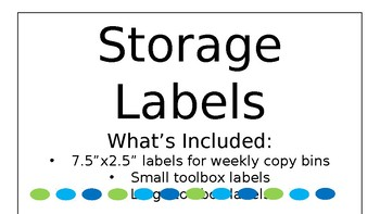 Storage Bin Labels Green And Blue EDITABLE