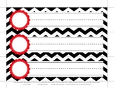 Storage Drawer Label Black & White Chevron Red Scallop