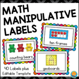 Storage Labels for Math Manipulatives - Brights on Black or White