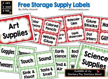 Storage Supply Labels for Early Childhood