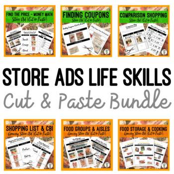 Grocery Store Ads Life Skills BUNDLE -  {Cut & Paste} money food